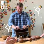 American man making chocolate